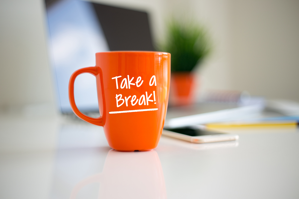 Coffee cup take a break reminder