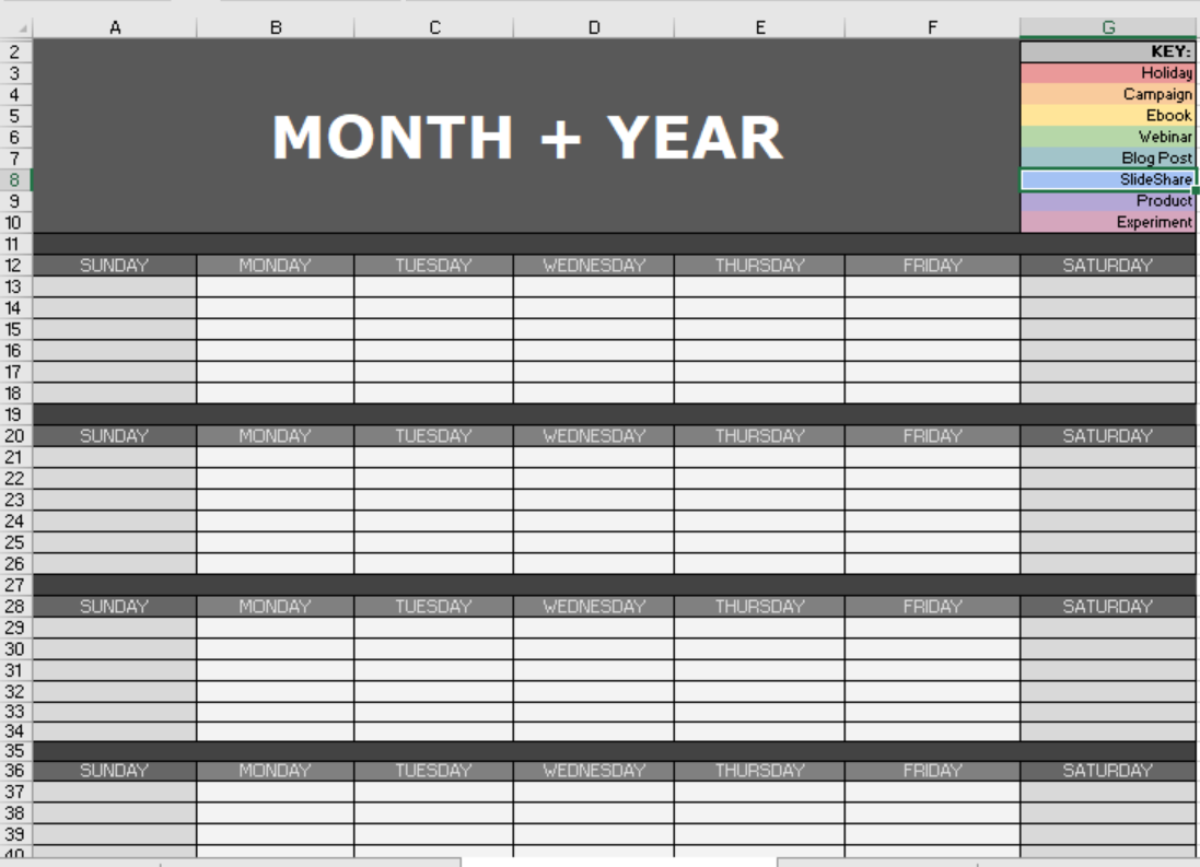 Excel Spreadsheet with SMM Calendar