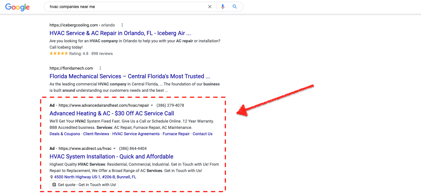 Google PPC Ad Example