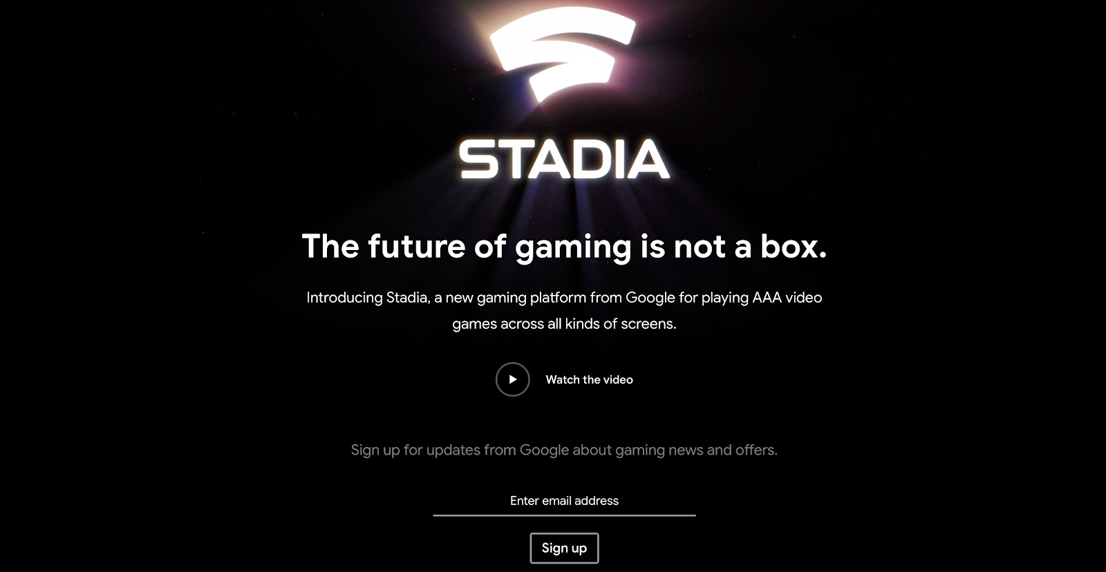 Google Stadia CTA Signup Example
