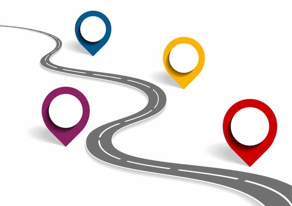 Pins on a roadmap