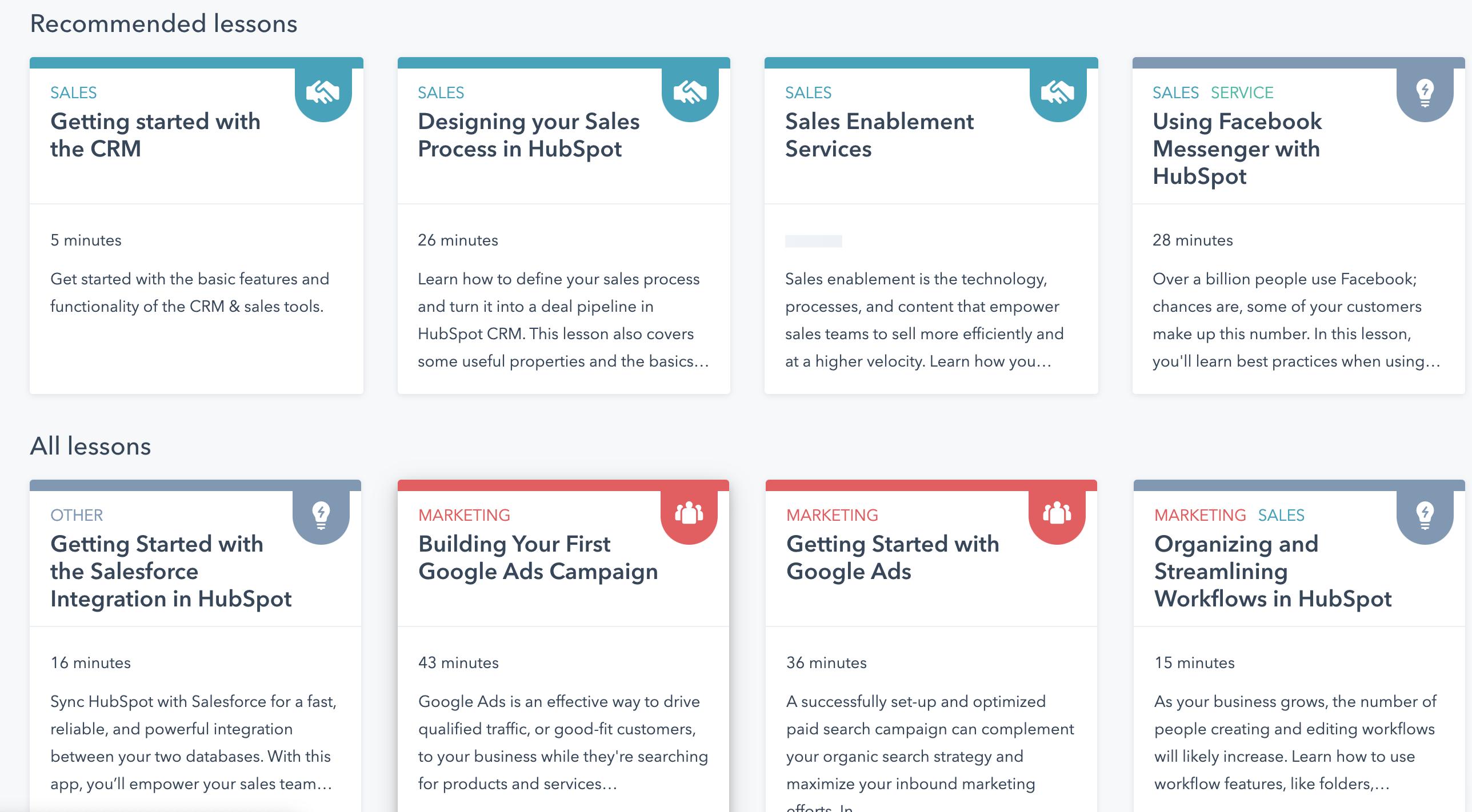 Hubspot Courses Screenshot
