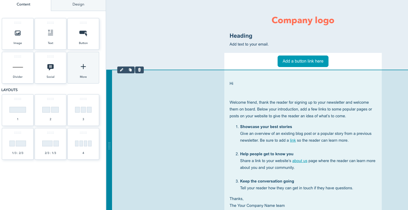 Hubspots Email Creation Tool