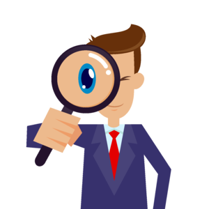 Business person using a magnifying glass