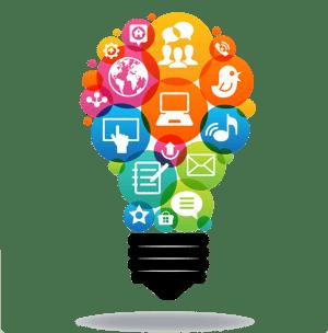 Lightbulb of different digital strategies