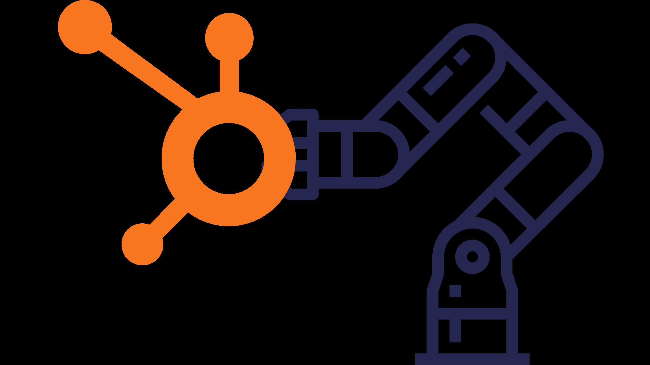 Robot moving Hubspot Logo