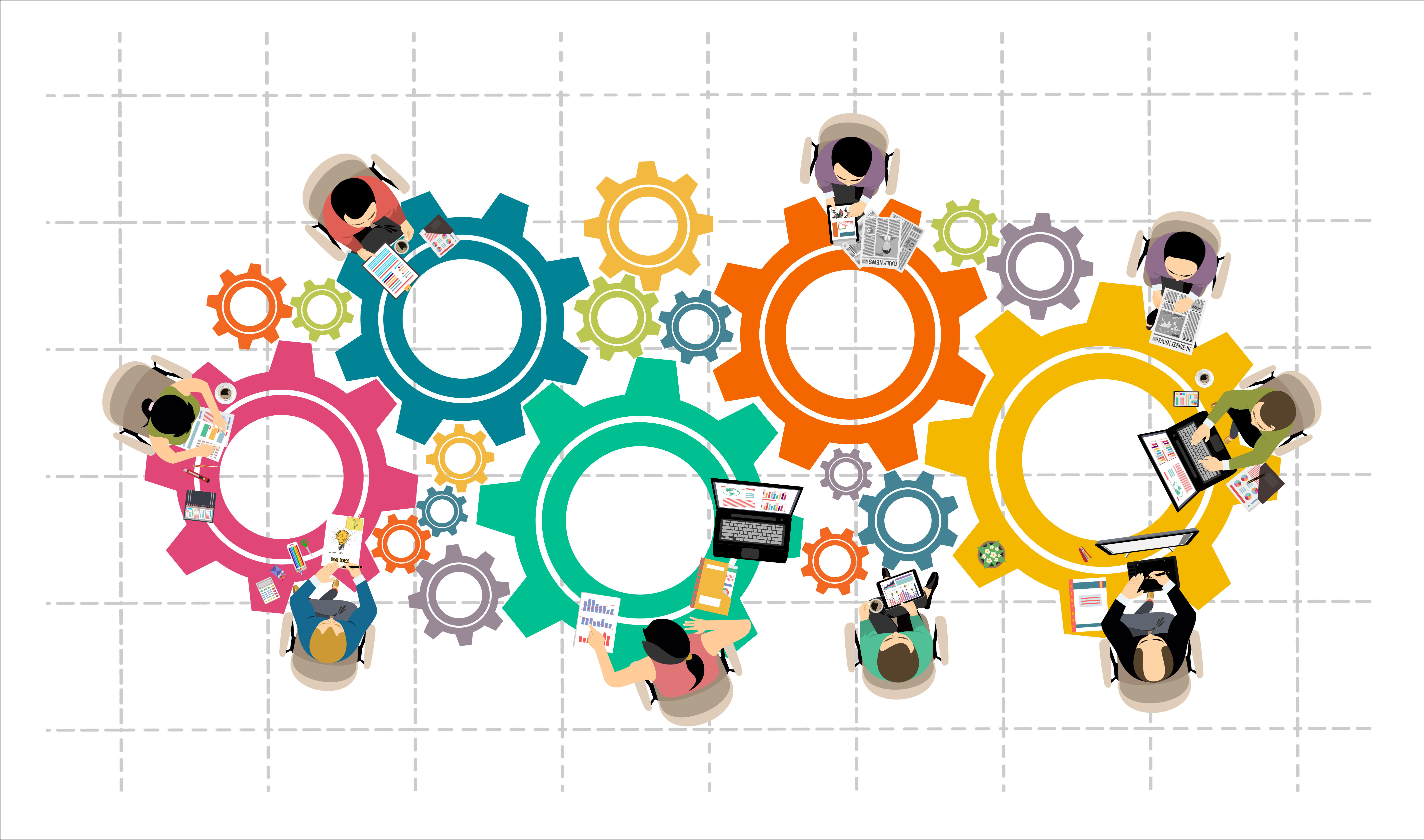 Professionals as cogs in a machine illustration