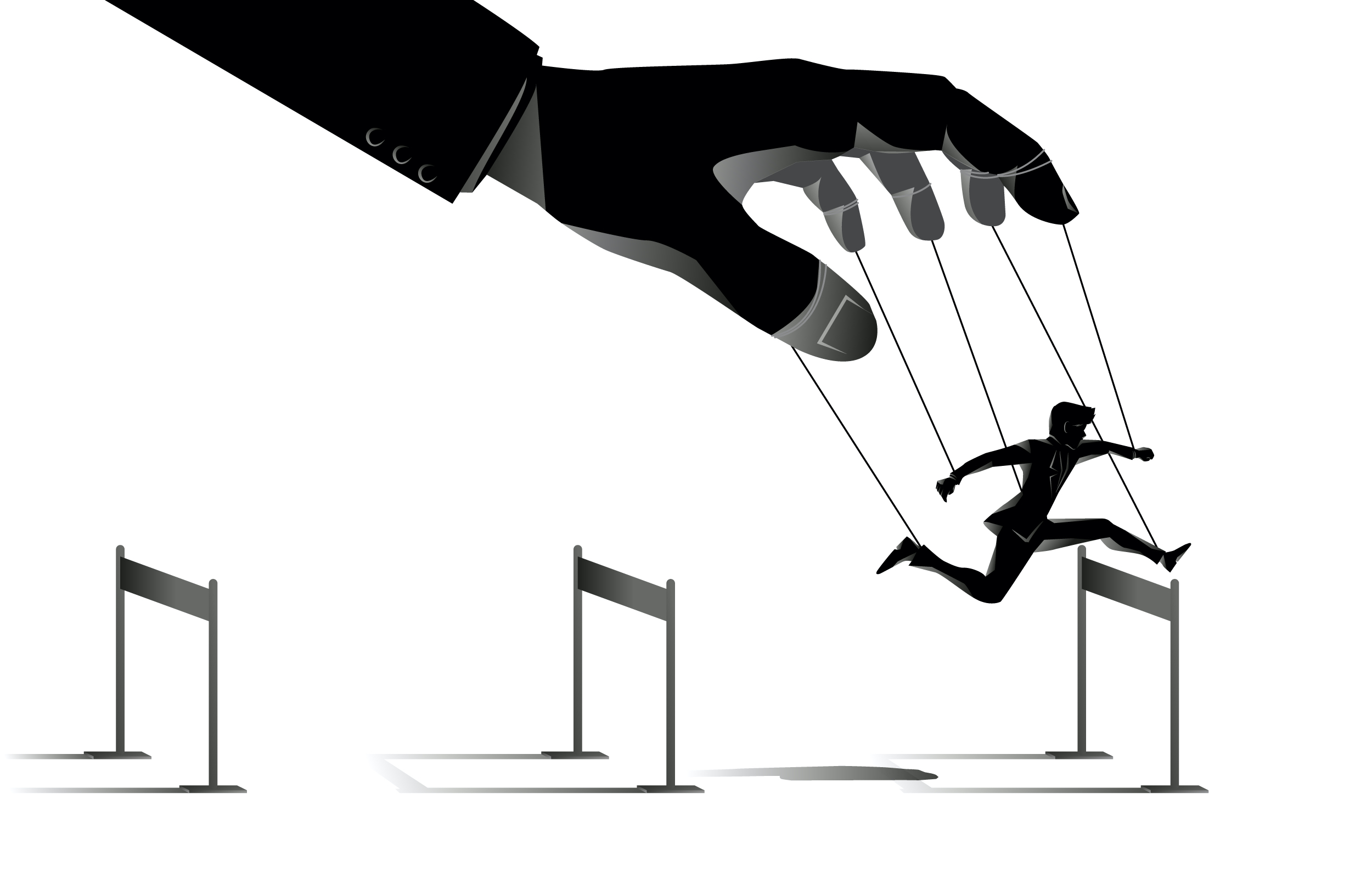 Puppet controlled by a hand illustration