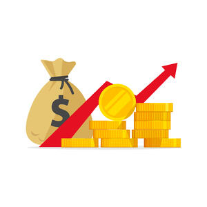 Profit with coins illustration