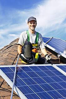 Roofer with solar happy