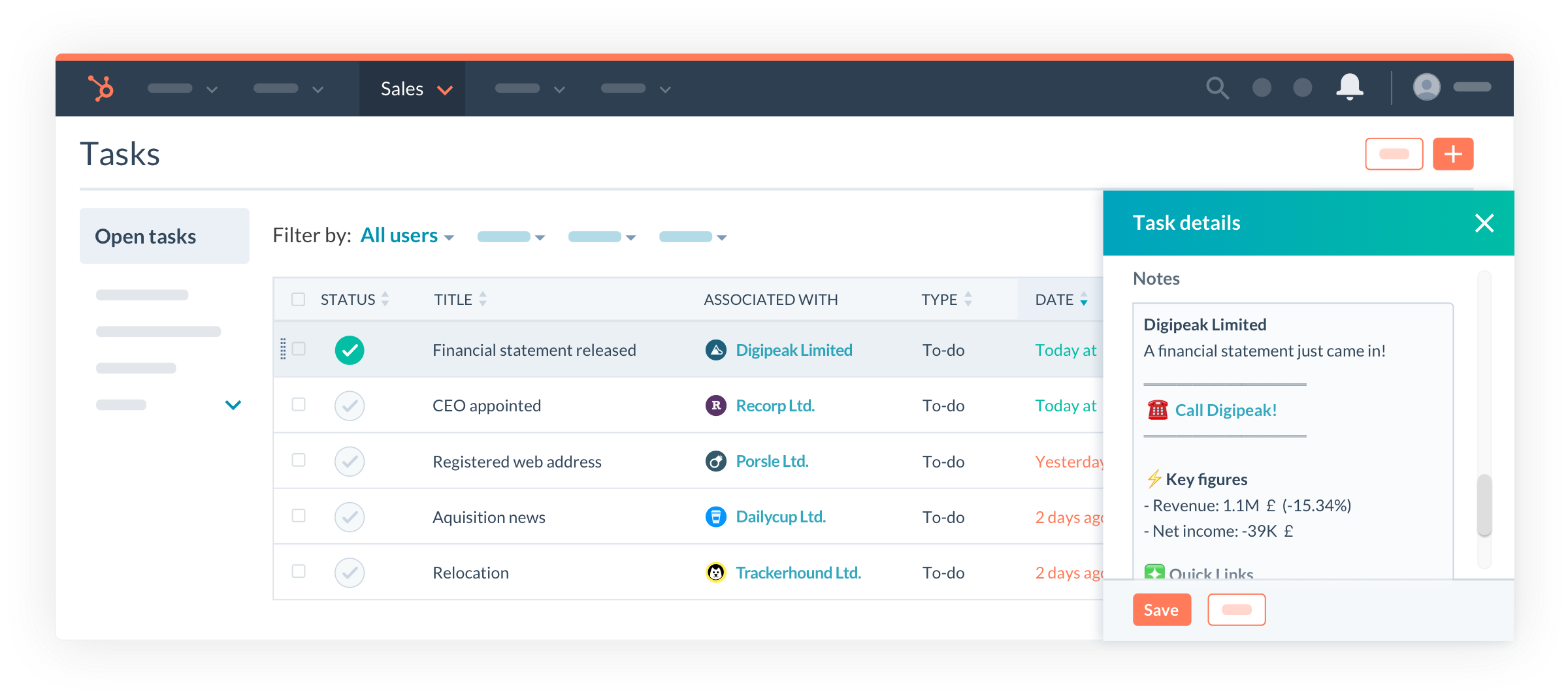 Vainu dashboard in Hubspot