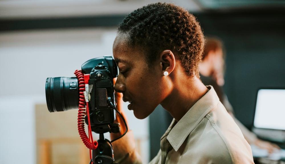 Videographer setting up a shot