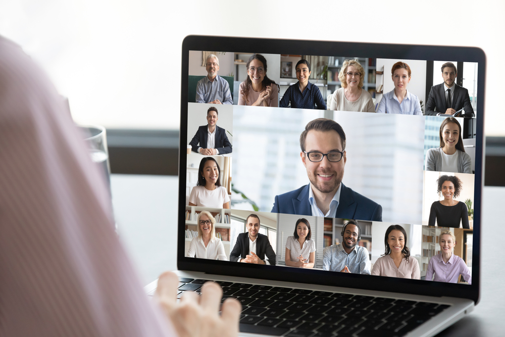 Boss on Zoom with multiple employees