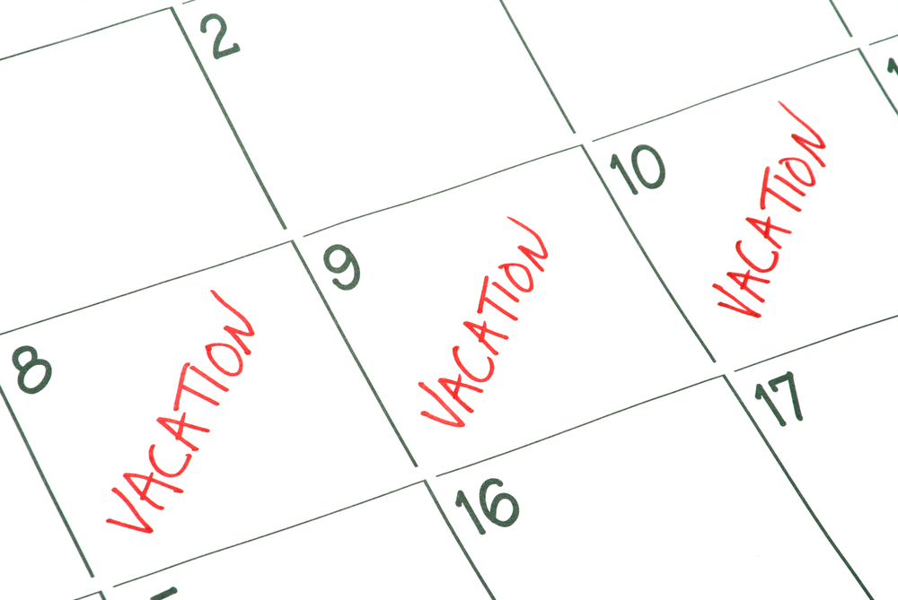 Calendar marking vacation days