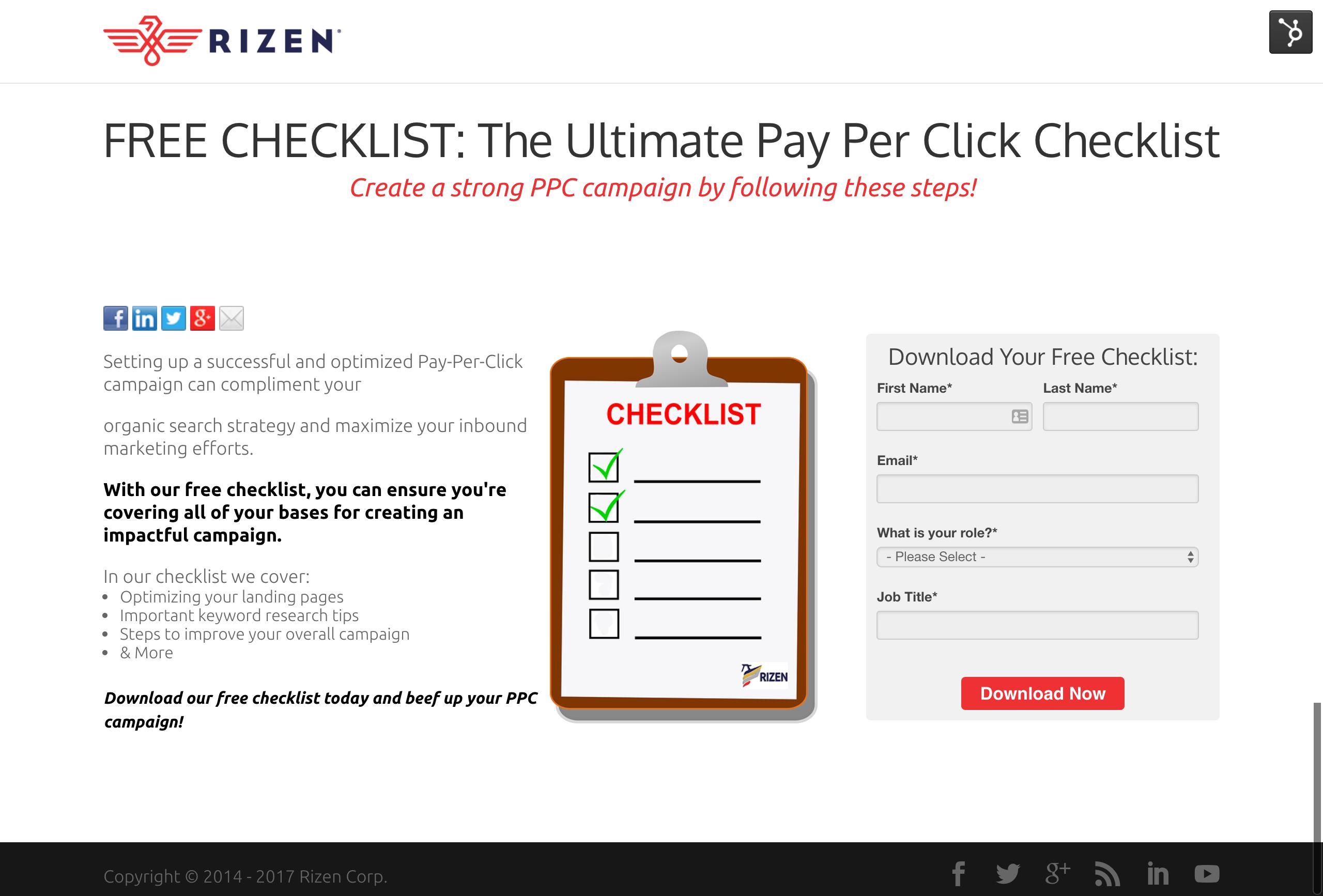 FREE CHECKLIST  The Ultimate Pay Per Click Checklist