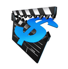 video clapboard eating a dollar sign
