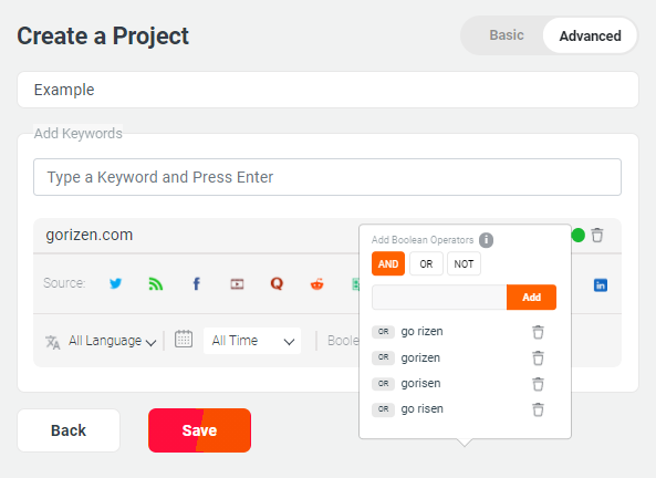Creating a Project in WebSignals