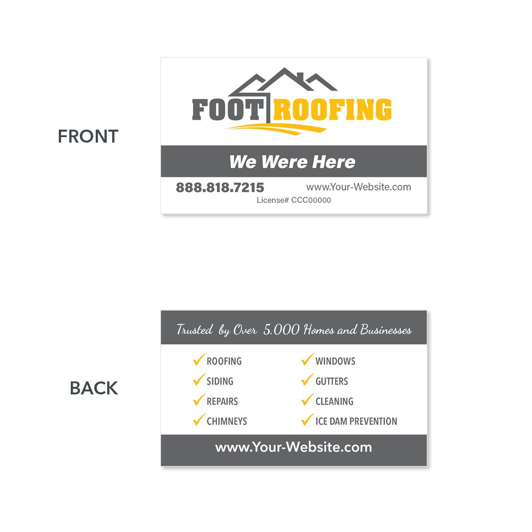 A minimalist roofer business card